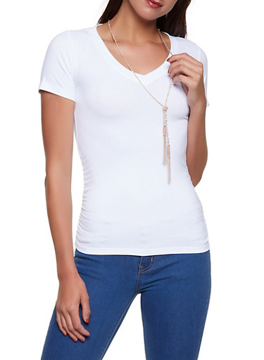 Ruched Soft Knit Tee with Necklace,WHITE,large