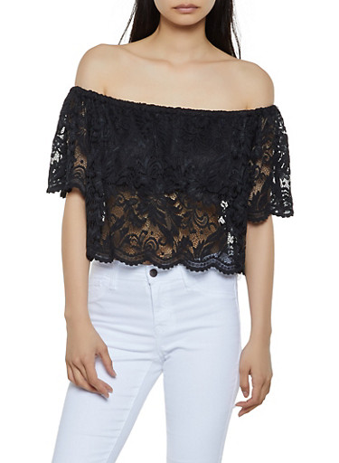 Scalloped Lace Off the Shoulder Top,BLACK,large