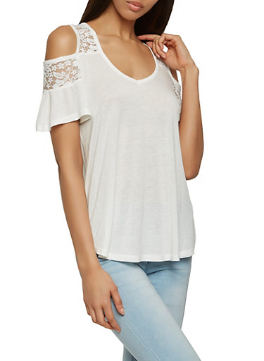 Lace Yoke Cold Shoulder Top,WHITE,large