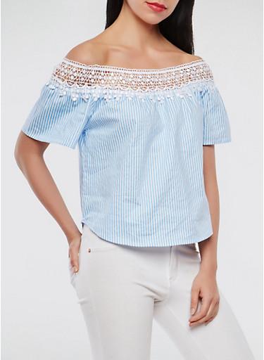 Crochet Trim Off the Shoulder Top,SKY BLUE,large