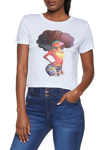 Rhinestone Afro Girl Patch Tee,WHITE,large