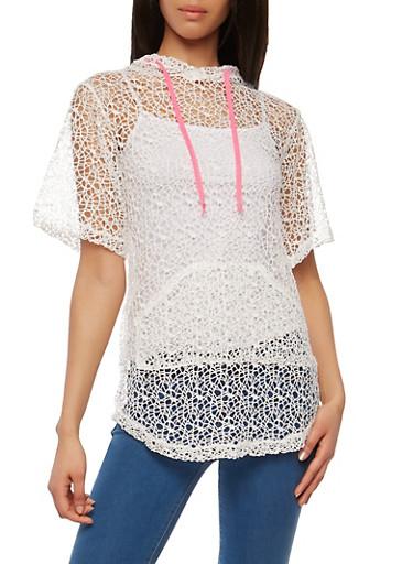 Sheer Crochet Hooded Top,WHITE,large