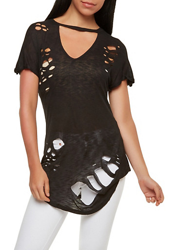Destroyed Ribbed Knit Tunic Top,BLACK,large