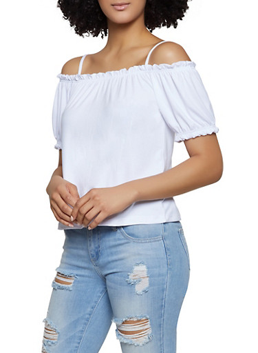 Soft Knit Off the Shoulder Top,WHITE,large