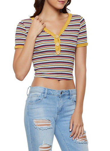 Striped V Neck Cropped Tee,MUSTARD,large