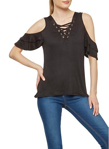 Flutter Sleeve Lace Up Cold Shoulder Top,BLACK,large