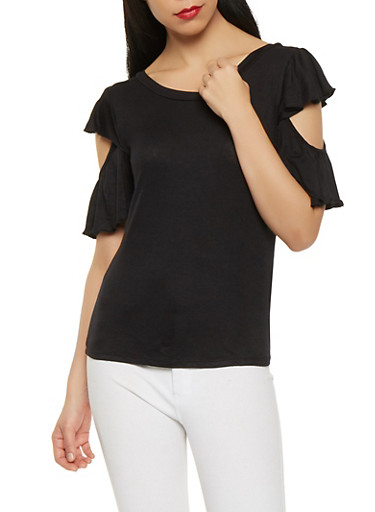 Caged Back Open Sleeve Tee,BLACK,large