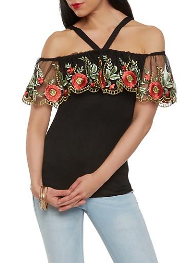 Embroidered Mesh Off the Shoulder Top,BLACK,large