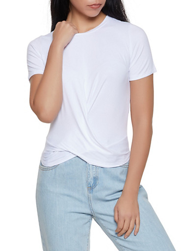 Soft Knit Twist Front Tee,WHITE,large
