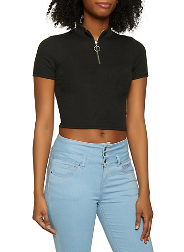 Ribbed Knit Zip Neck Crop Top,BLACK,large