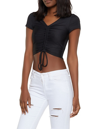 Ribbed Drawstring Front Crop Top,BLACK,large