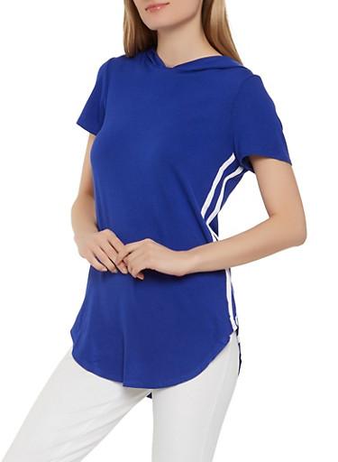 Side Varsity Stripe Tunic Top,RYL BLUE,large