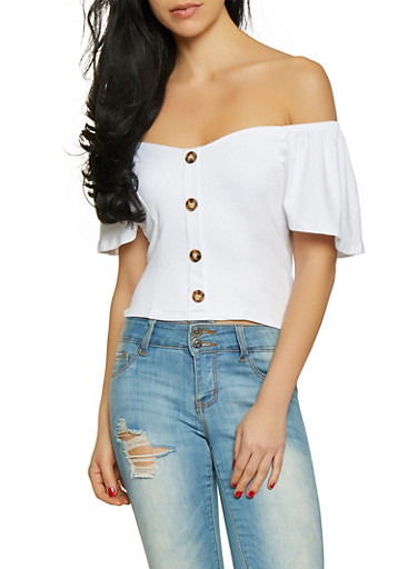 Flutter Sleeve Off the Shoulder Crop Top,WHITE,large