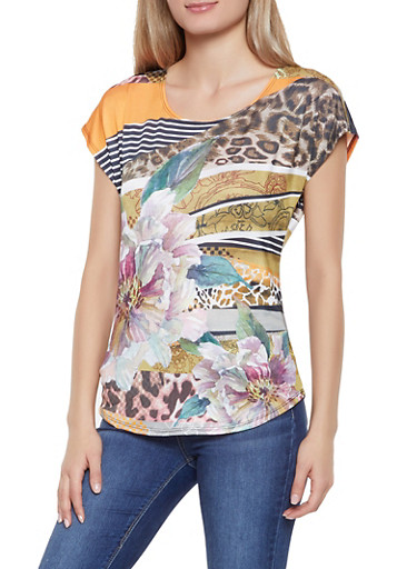 Printed Cap Sleeve Top,MULTI COLOR,large