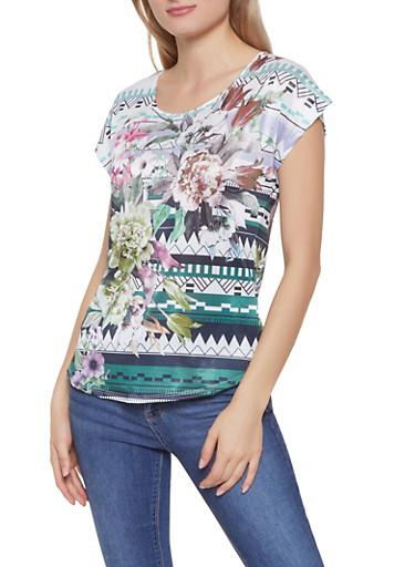 Floral Aztec Print Top,MULTI COLOR,large