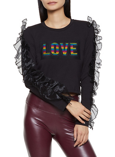 Ruffled 3D Love Graphic Top,BLACK,large
