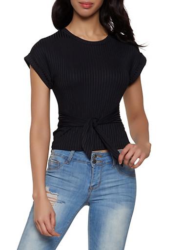 Rib Knit Tie Front Tee,BLACK,large