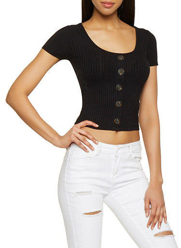 Ribbed Button Front Tee,BLACK,large
