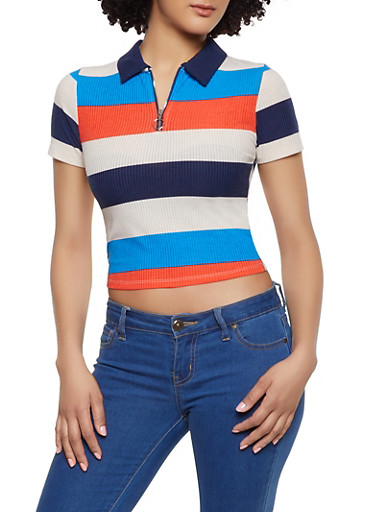 Striped Zip Polo Shirt,NAVY,large