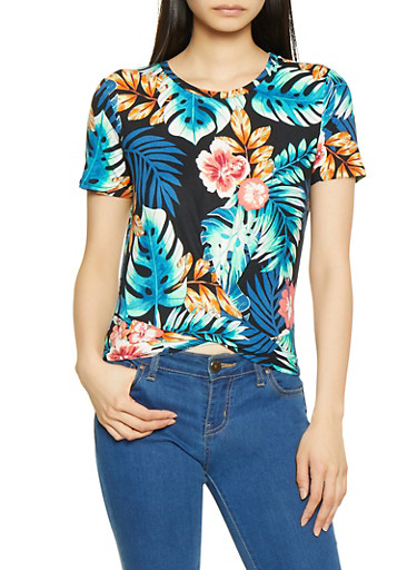 Tropical Print Twist Front Tee,MULTI COLOR,large