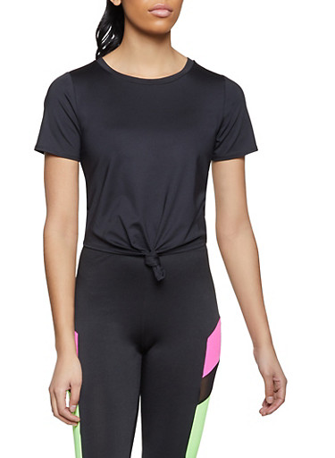 Knot Front Spandex Tee,BLACK,large