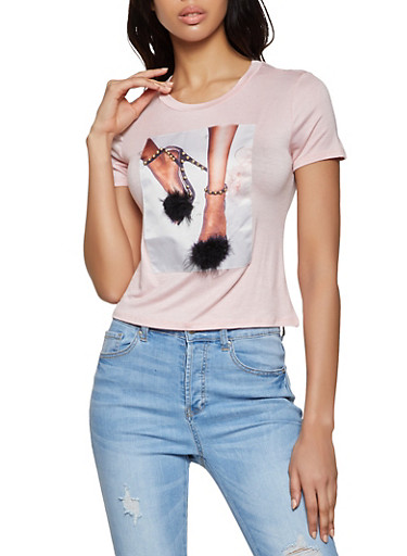 Studded High Heel Graphic Tee,BLUSH,large