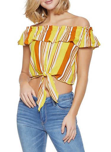 Striped Off the Shoulder Top,YELLOW,large
