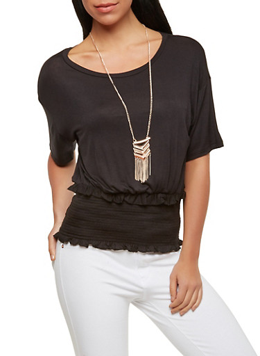 Smocked Waist Top with Necklace,BLACK,large