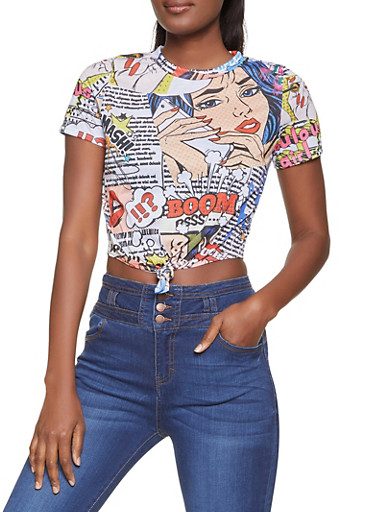 Tie Front Pop Art Graphic Tee,WHITE,large