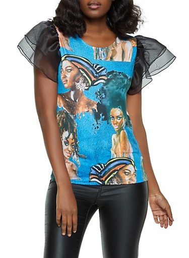 Face Graphic Organza Sleeve Top,TEAL,large