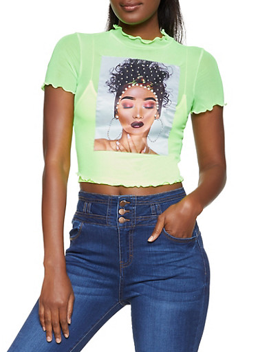 Faux Pearl Patch Mesh Tee,NEON LIME,large