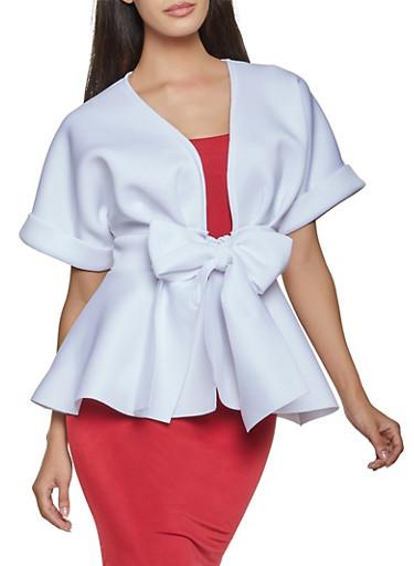 Scuba Tie Front Peplum Top,WHITE,large