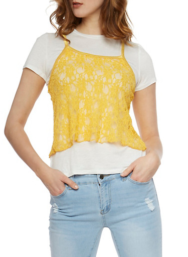 Cropped Lace Cami T Shirt,WHT/MUSTARD,large