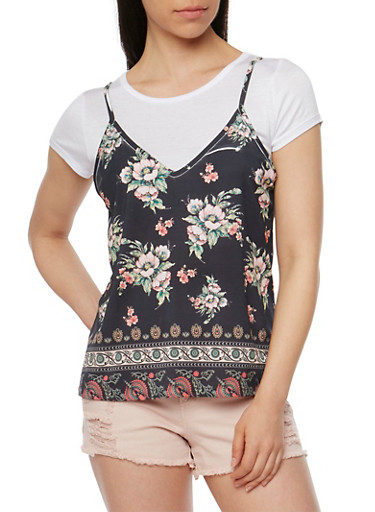 Basic T Shirt with Floral Cami Overlay,BLACK,large