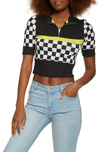 Checkered Zip Neck Top,BLACK/WHITE,large
