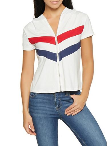 Chevron Stripe Zip Front Top,WHITE,large