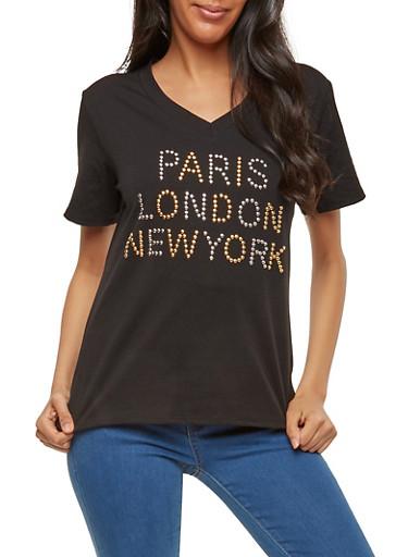 City Studded T Shirt,BLACK,large