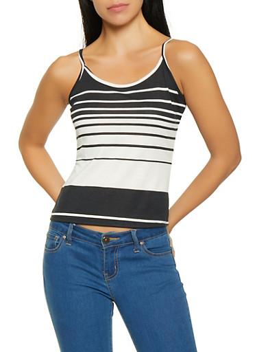 Striped Cami,BLACK/WHITE,large