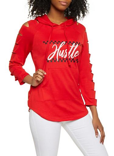 Hustle Graphic Slashed Sweatshirt,RED,large
