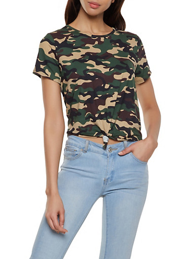 Camo Soft Knit Tie Front Tee,OLIVE,large