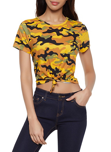 Camo Soft Knit Tie Front Tee,MUSTARD,large