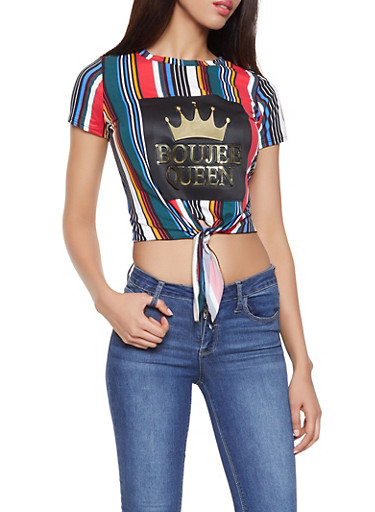 Boujee Queen 3D Foil Graphic Striped Tee,BLK PTN,large