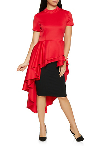 Tiered High Low Peplum Top,RED,large
