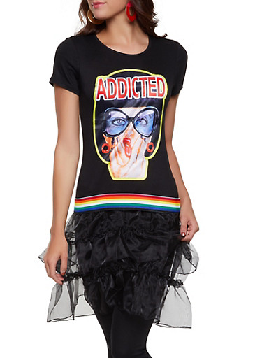 Addicted Graphic Tiered Tunic Tee,BLACK,large