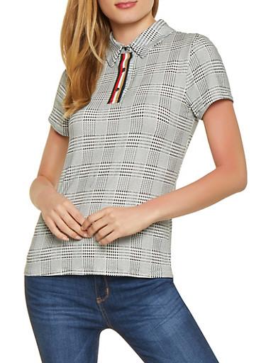Plaid Polo Shirt,BLACK/WHITE,large