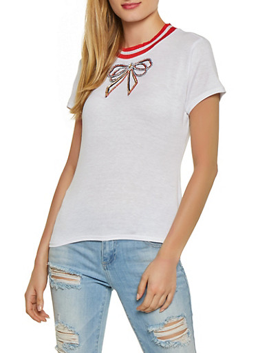 Rhinestone Bow Patch Tee,WHITE,large