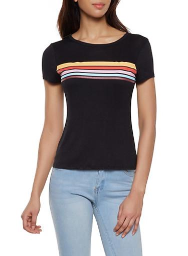 Striped Detail Tee,BLACK,large