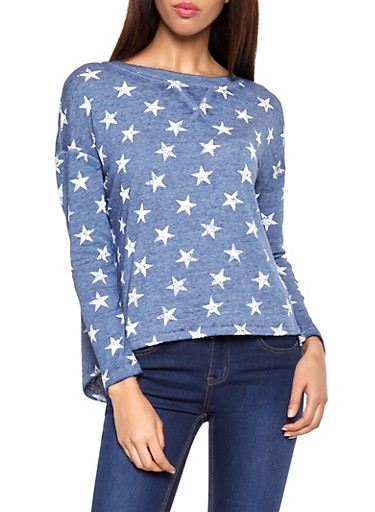 Star Print Split Back Sweatshirt,BLUE,large