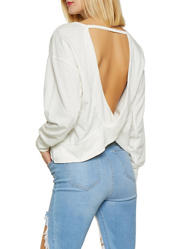 Open Back Sweatshirt,WHITE,large