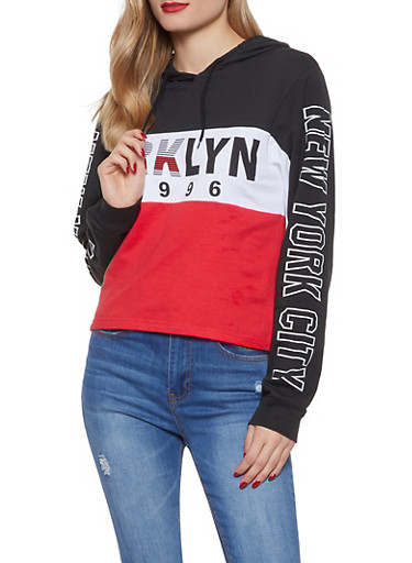 Color Block Brooklyn Graphic Sweatshirt,RED,large